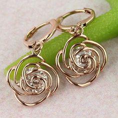 Earrings Girl ' s 18k Rose Gold Plated Clear CZ Diamond Flower Drop Dangle Earrings Jewelry Gift Jewelry Earrings