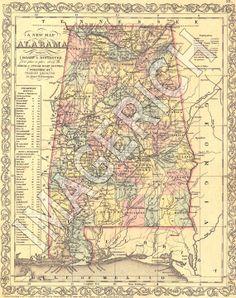 Antique Alabama Map Vintage Map Original Map Of Alabama - Vintage road maps for sale