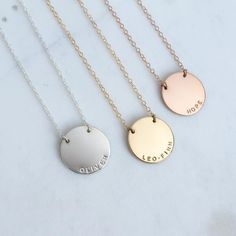 NEW! Zola Disc Necklace stamped in our tiny uppercase arial font | Sterling Silver, 14K Gold and Rose Gold Filled Handmade Jewelry | Personalized Pendants | Layered Necklaces | #mymadebymary | @madebymarywithlove via Instagram