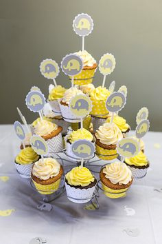 Items similar to 12 Baby Elephant Cupcake Toppers Little Peanut Baby Shower or Birthday Party Decoration Grey Yellow White on Etsy Baby Shower Themes Neutral, Baby Shower Yellow, Baby Girl Shower Themes, Baby Boy Shower, Gender Neutral, Deco Elephant, Elephant Theme, Baby Shower Centerpieces, Baby Shower Decorations