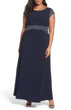 Main Image - Alex Evenings Beaded A-Line Gown (Plus Size) nordstrom Mother Of The Bride Trouser Suits, Mother Of The Bride Jackets, Mother Of The Bride Plus Size, Mother Of The Bride Gown, Plus Size Womens Clothing, Plus Size Fashion, Trendy Clothing, Flax Clothing, A Line Gown