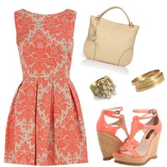 Beautiful Coral Print Dress: love everything about this...classic dress, wedges, gold jewelry & cream accessories...