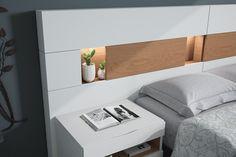 Mueble de dormitorio moderno 070b. Muebles acabados en chapa natural de roble siroco y laca blanco mate