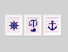 Baby Girl Nautical Nursery Art Set Monogram by SweetPapelDesigns, $40.00
