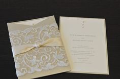 Lace pocket wedding invitation with ribbon, crystals and pearl, by Someday Designs