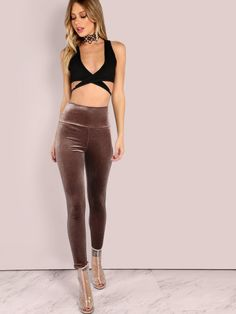f7c3d946d5 SheIn offers Velvet Leggings MOCHA   more to fit your fashionable needs.