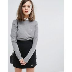 Fred Perry Authentic Tipped Crew Neck Jumper ($130) ❤ liked on Polyvore featuring tops, sweaters, grey, grey crew neck sweater, fred perry jumper, crew sweater, crew-neck jumper and fred perry sweater