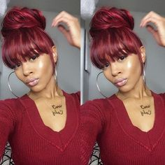 HAIRSPIRATION| Love this style on @deeplyrootedd ❤️ Faux bangs and a messy bun #voiceofhair ========================== Go to VoiceOfHair.com ========================= Find hairstyles and hair tips! =========================