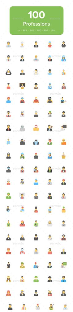 100 Flat #Professions #Avatar #Icons - Icons