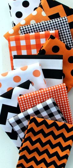 Riley Blake Halloween Mixers and Blenders - 1/2 Yard Bundle #rileyblakedesigns #halloween #dot #gingham #chevron #stripe