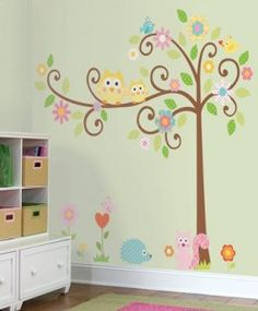 Owl Scroll Tree Wall Decals for Owl-Theme Room