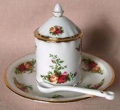 Royal Albert Old Country Roses Mustard Pot Plate Spoon 1st Quality