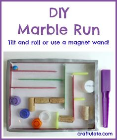 This DIY Marble Run was made in an empty shoe box lid and uses straws, corks, craft sticks and bottle lids. Great fun - especially with a magnet wand! Craft Stick Crafts, Crafts For Kids, Arts And Crafts, Craft Sticks, Craft Activities, Toddler Activities, Educational Activities, Homemade Toys, Diy Toys