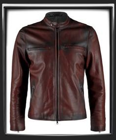 "Distressed Red Italian nappa leather with black leather detail.      This Leather Jacket was hand crafted in Italy.      Motorcycle style leather jacket.      A thing of beauty.      Also available in Black , Vintage Grey & Antique Brown      Model has a 40 "" chest and is wearing a size Medium for a vintage slim fit.    £339.00  i have one similar but not as red. i like this one"