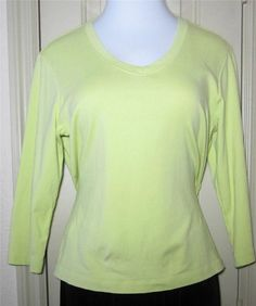 CHICO Size 2   Green Cotton & Spandex V-Neck Top #Chicos #KnitTop