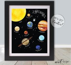 Solar System Planets with Sun Moon & Stars -- typography & watercolor illustration art DIY print  Great for a classroom, homeschool space,