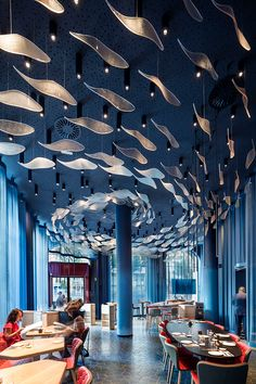 ♂Fish and ocean blue another restruant with the striking design ceiling. - ♂Fish and ocean blue another restruant with the striking design ceiling. ♂Fish and ocean blue another restruant with the striking design ceiling. Restaurant Design, Decoration Restaurant, Deco Restaurant, Ocean Restaurant, Restaurant Lighting, Seafood Restaurant, Commercial Design, Commercial Interiors, Interior Architecture