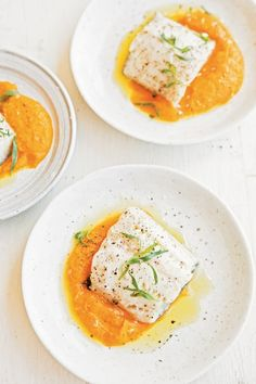 Yum! Roasted Black Cod with Carrot-Tarragon Puree from Williams-Sonoma.