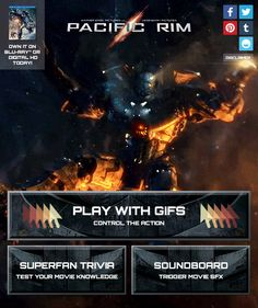 Pacific Rim! Check out the #PacificRim Blog App to control action-packed gifs, take the superfan quiz, and trigger huge sounds from the movie. Be sure to watch #PacificRim on Blu-ray & DVD