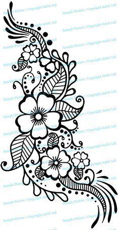 Henna Tattoo Wall Vinyl Sticker - Floral Flower Mandala Art Paisley Mehndi Indian Decal - Decor Inspired Stencil Black Home Room Joga Mural - Vinyl Wall Decal Henna Pattern with Flowers / Tattoo Design Art Decor Sticker / Indian Mehandi Remo - Design Tattoo, Henna Tattoo Designs, Henna Tattoos, Flower Tattoo Designs, Mehndi Designs, Henna Designs On Paper, Mandala Flower Tattoos, Tattoo Ideas, Tattoo Floral