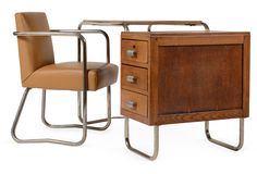 Marcel Breuer bent tubular steel and limed oak desk with leather-upholstered chair; for Thonet, circa 1930.