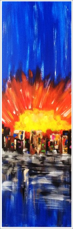 """""""Theater District"""",..acrylic on stretched canvas..72"""" x 24"""" x 3""""...Exclusively Mac Worthington Studio In the very heart of Columbus' art district 749 N. High Street, Columbus, Ohio"""