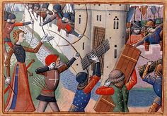Jeanne at the siege of Paris. From Martial d'Auvergne's Vigiles de Charles VII (a versified history of the Hundred Years War). Paris, BnF MS Français 5054, fol. 66v