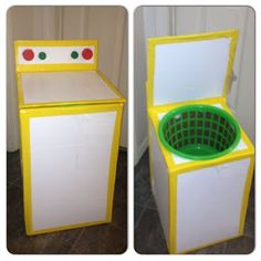 Play Washing Machine: Used cardboard box, basket from Dollar Tree, tops from bottles, duct tape, and contact paper. Projects For Kids, Diy For Kids, Home Projects, Crafts For Kids, Toddler Fun, Toddler Activities, Cardboard Crafts, Dramatic Play, Diy Toys
