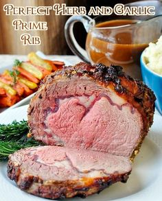 Herb and Garlic Crusted Prime Rib Roast with Burgundy Thyme Gravy - another of our Ultimate Sunday Dinner ideas!