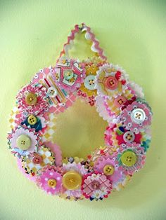 Spring/Summer fabric scrap & button wreath from Inspired Ideas Fabric Flower Brooch, Fabric Wreath, Fabric Ornaments, Diy Wreath, Fabric Flowers, Wreath Ideas, Wreath Making, Handmade Ornaments, Fabric Beads