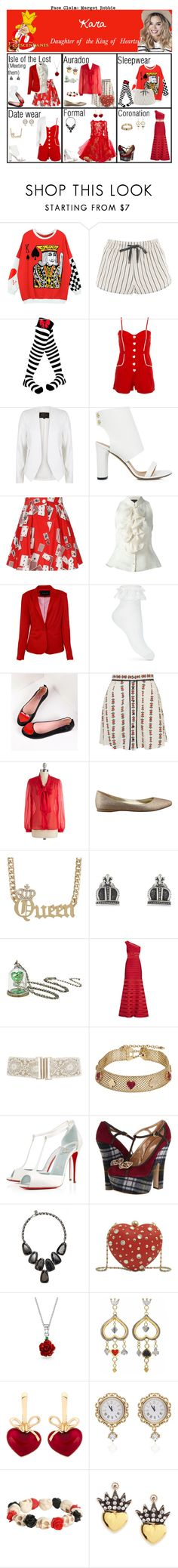 """""""Kara. Daughter of the King of Hearts"""" by elmoakepoke ❤ liked on Polyvore featuring Disney, Topshop, River Island, IRO, Olympia Le-Tan, Luisa Spagnoli, Miss Selfridge, Motel, Nine West and King Baby Studio"""