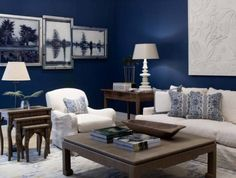 New Ideas Living Room Navy Blue Decor Beach Houses Beach Living Room, Navy Blue Living Room, Coastal Living Rooms, Blue Rooms, White Rooms, New Living Room, Home And Living, Living Room Decor, Home Theaters