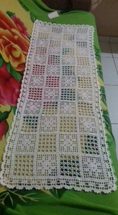 Vintage olive - khaki hand Crocheted cotton table runner table topper tray cloth crochet scarf with Filet Crochet, Hand Crochet, Crochet Lace, Crochet Table Runner, Crochet Tablecloth, Crochet Doilies, Crochet Flower Patterns, Doily Patterns, Knitting Patterns Free