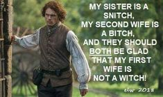 Outlander Meme, Lynn Wilson, Second Wife, Starz Series, Sam And Cait, Jamie Fraser, Sam Heughan, Sisters, Humor