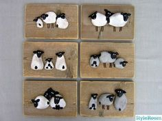 Sheep cute pebble art pictures to make for gifts or make with kids