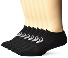 ASICS Invasion No Show Running Socks (6 Pack), Black, Large. Soft sole cushioning and moisture management. Breathable mesh knit on top of foot keeps feet cool and dry. Anti-odor technology. No show silhouette. Seamless toe eliminates bulky toe seam and improves comfort.