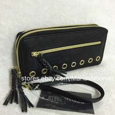 NEW Steve Madden Black Double Zip Around Wallet Wristlet Braided Zipper MR111610 #SteveMadden #Clutch