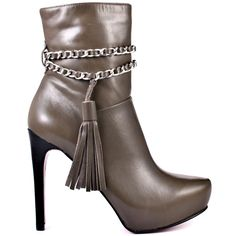 Sashay on the sidewalk like you own it in these Paris Hilton booties.  Alisha features a grey leather upper with a silver chain detail and tassel.  The 1 inch platform and 4 1/2 inch heel complete this look and make it a perfect pairing with jeans and leggings.