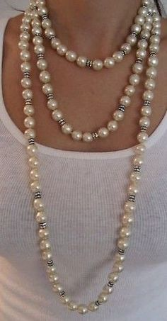 Chanel Pearl Diamond Sautoir Necklace via @elroci. #Chanel #pearls