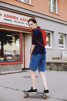 POKOJÍK / Tereza wears Pinwheels denim shorts, and Pinwheels denim blouse, on her back a backpack by Pavel Jevula Denim Blouse, Denim Shorts, Pinwheels, Backpack, Editorial, Traveling, Normcore, How To Wear, Collection