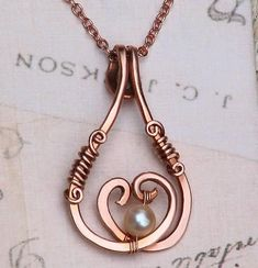 Moonlight Pearl Two Hearts Necklace Wire Wrapped Rose Copper | OwlHollowStudio - Jewelry on ArtFire