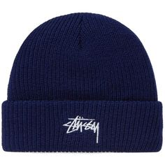Stussy Stock HO17 Cuff Beanie ($55) ❤ liked on Polyvore featuring accessories, hats, cuff beanie, stussy hat, cuffed beanie, navy blue hat and cuffed beanie hats