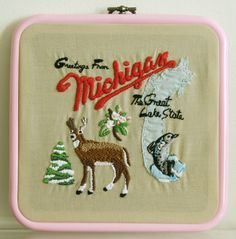 Hand embroidered Sufjan Stevens Greetings from Michigan album cover embroidery hoop crafts