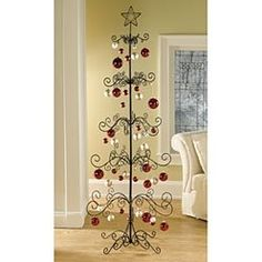 an ornament display stand or ornament display tree is a metal stand with branches that allows - Metal Christmas Tree Ornament Display