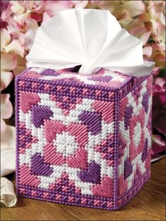 Pink  Purple Hearts Tissue Box Cover.