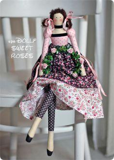 Купить НЕЖНАЯ РОЗА - интерьерная кукла в стиле тильда винтажный ангел - разноцветный, тильда
