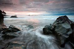 Todd Mortensen - Ruby Beach, Washington, Sunset, Snow storm photo