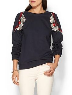 Piperlime Hemant & Nandita Jeweled Shoulder Sweatshirt in navy.