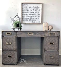 """""""Finished in a rustic gray brown, achieved by layering General Finishes Dark Chocolate, Driftwood & Custom Taupe. Campaign Desk, General Finishes, Painted Furniture, Furniture Refinishing, Monkey Business, Milk Paint, Inspiration Boards, Paint Finishes, Brown And Grey"""