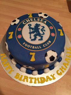Chelsea football cake Football Themed Cakes, Football Birthday, Chelsea Football Cake, Food For Eyes, 60th Birthday Cakes, Birthday Themes For Boys, Sport Cakes, Soccer Party, Cakes For Boys